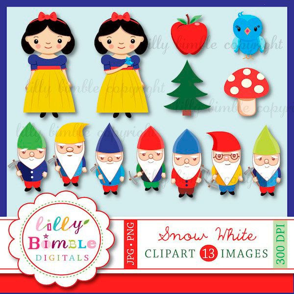 7 Zwerge Clipart Einzigartig Snow White and the Seven Dwarfs Clipart for Birthdays Scrapbooking Stock