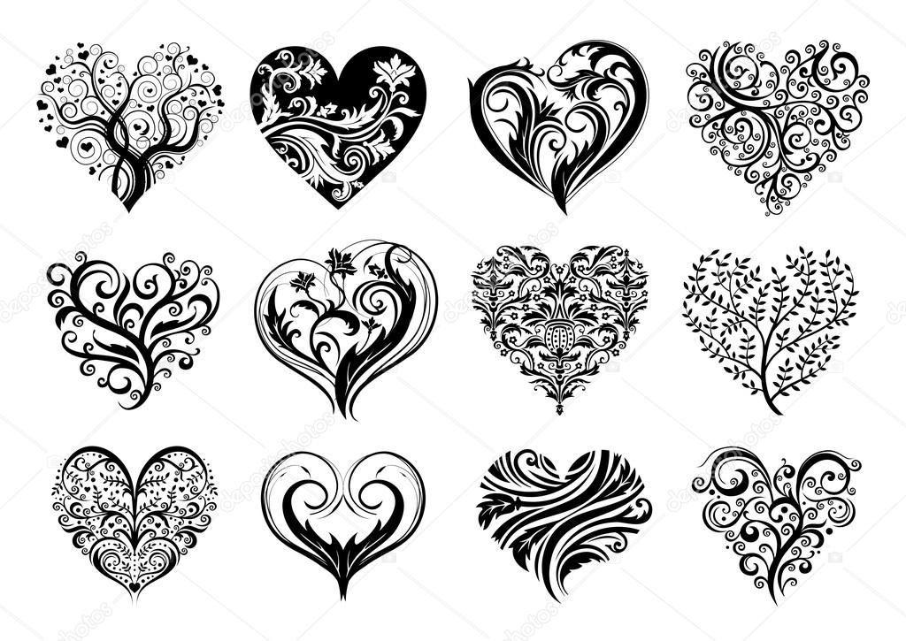 Anspruchsvolle Mandalas Zum Ausdrucken Genial Set 12 Tätowierung Herz Vektor Bild Tattoos Sammlung