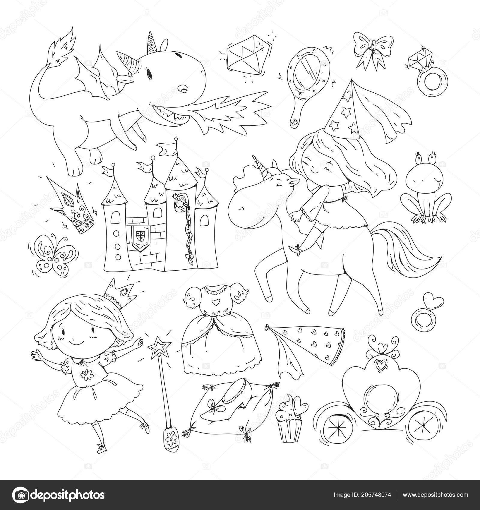 Ausmalbild Einhorn Mit Fee Frisch Malvorlagen Für Buch Niedliche Kleine Prinzessin Mit Einhorn Und Das Bild