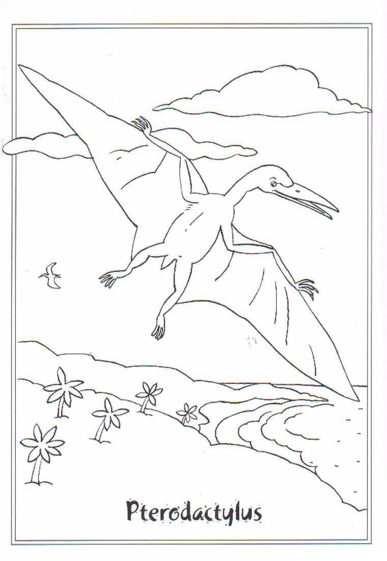 Ausmalbilder Dinosaurier Rex Frisch Coloring Page Dinosaurs 2 Pterodactylus Schön Tyrannosaurus Rex Stock