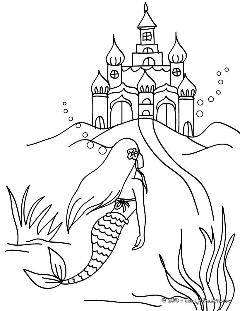 Ausmalbilder H2o Plötzlich Meerjungfrau Einzigartig Coloriages Sirène Et Château à Colorier Fr Hellokids Sammlung
