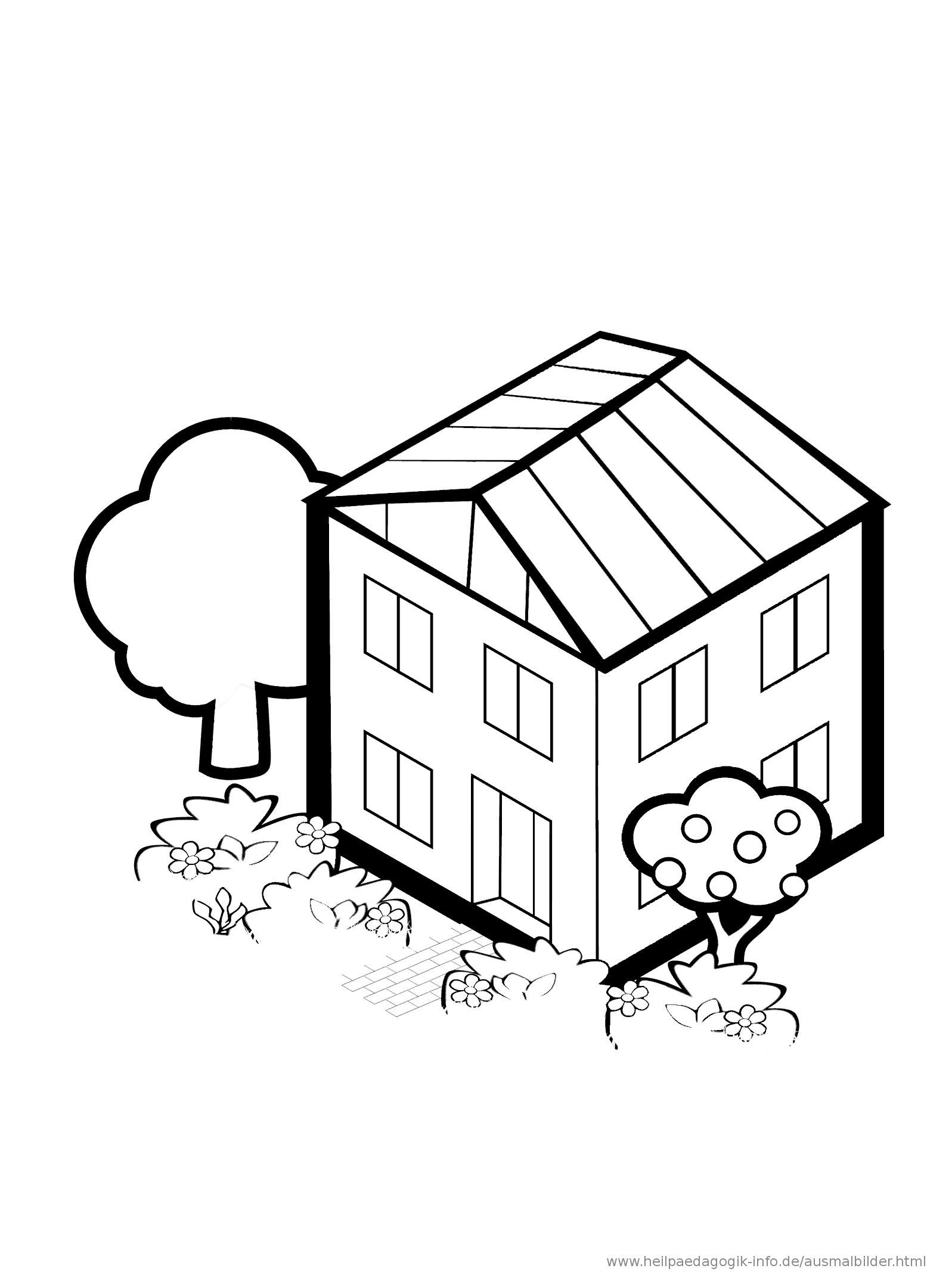 Ausmalbilder Haus Mit Garten Genial Ausmalbilder Häuser Und Gebäude Avec Ausmalbild Haus Innen Et Bild