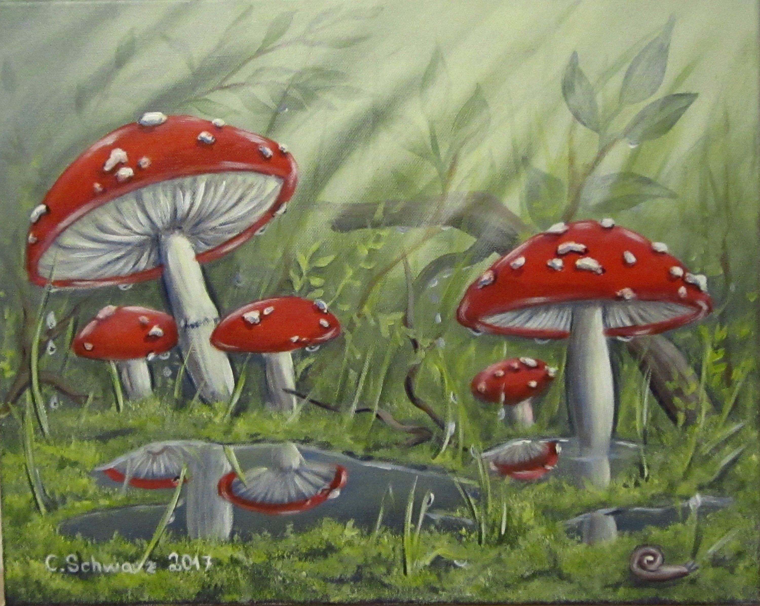"Ausmalbilder Herbst Pilze Genial Acrylic Painting ""fly Mushrooms after the Rain"" Art Mural Mushroom Stock"
