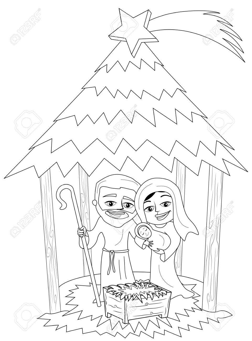 Ausmalbilder Weihnachten Krippe Einzigartig Weihnachts Krippe Mit Josef Und Maria Mit Neugeborenen Jesus Elegant Fotos