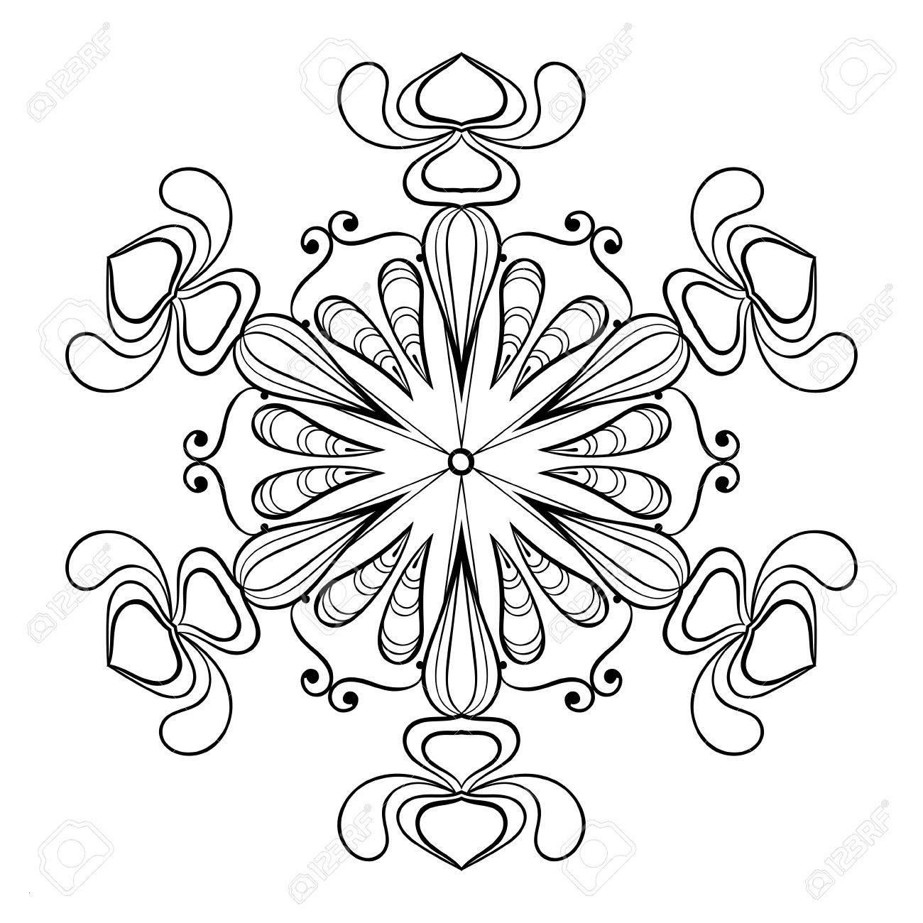 Ausmalbilder Weihnachten Schneeflocke Einzigartig Vektor Schneeflocke In Zentangle Doodle Artweinlese Mandala Für Das Bild