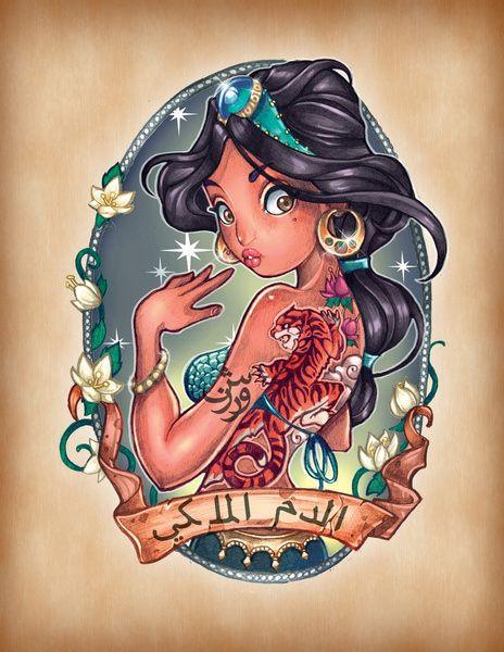 Disney Prinzessinnen Zeichnen Das Beste Von 8 Disney Princesses as Fierce Vintage Tattooed Pin Ups Bilder