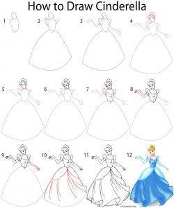 Disney Prinzessinnen Zeichnen Frisch How to Draw Cinderella Step by Step Clining Pinterest Stock
