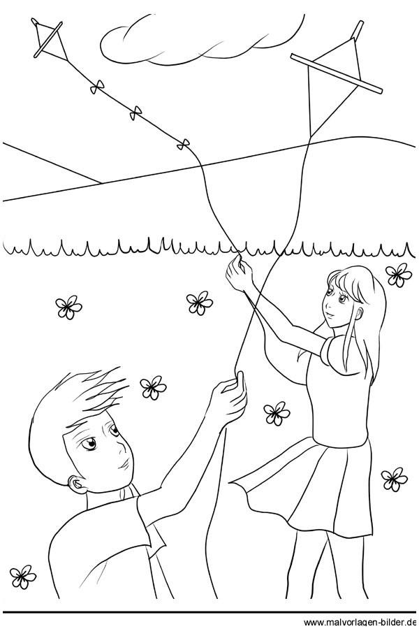 Drachen Steigen Malvorlage Einzigartig Ausmalbild Frühling Kinder Lassen Einen Drachen Steigen Druckfertig Bilder