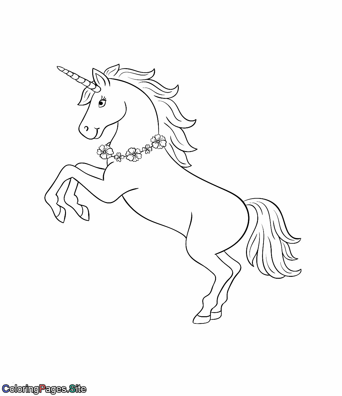 Emojis Zum Ausmalen Frisch Unicorn with A Flowers Necklace Coloring Page Best Ausmalbilder Fotos