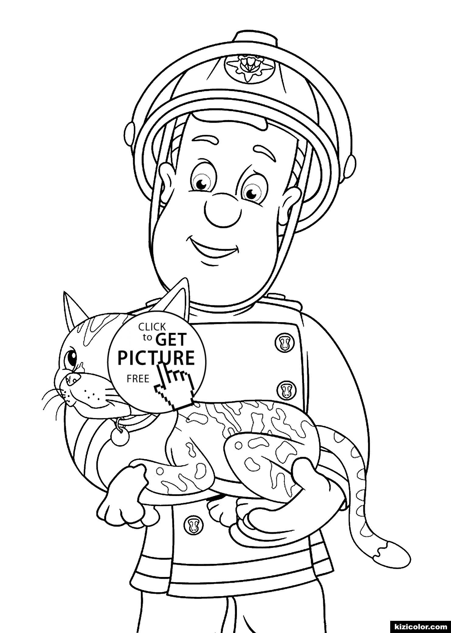 Feuerwehrmann Sam Ausmalbild Genial Feuerwehrmann Sam Und Katze Malvorlagen Für Print Für Kinder Bild