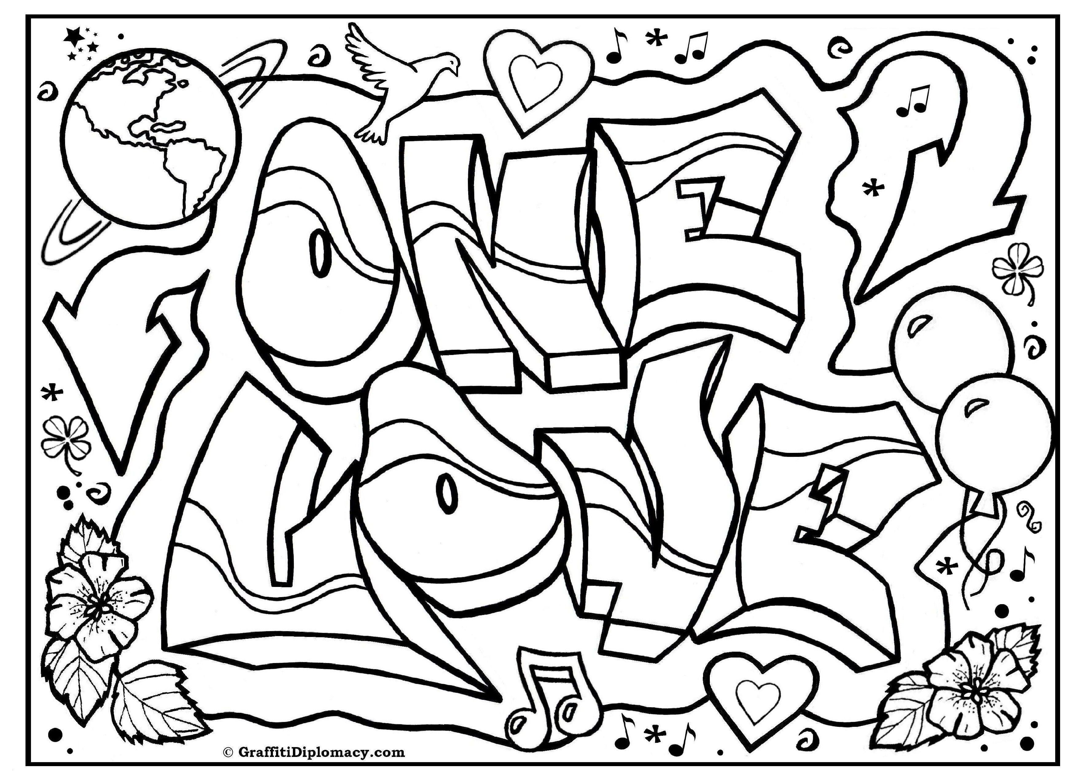 Graffiti Bilder Zum Ausmalen Einzigartig 45 Inspirierend Ausmalbilder Graffiti Love Mickeycarrollmunchkin Das Bild