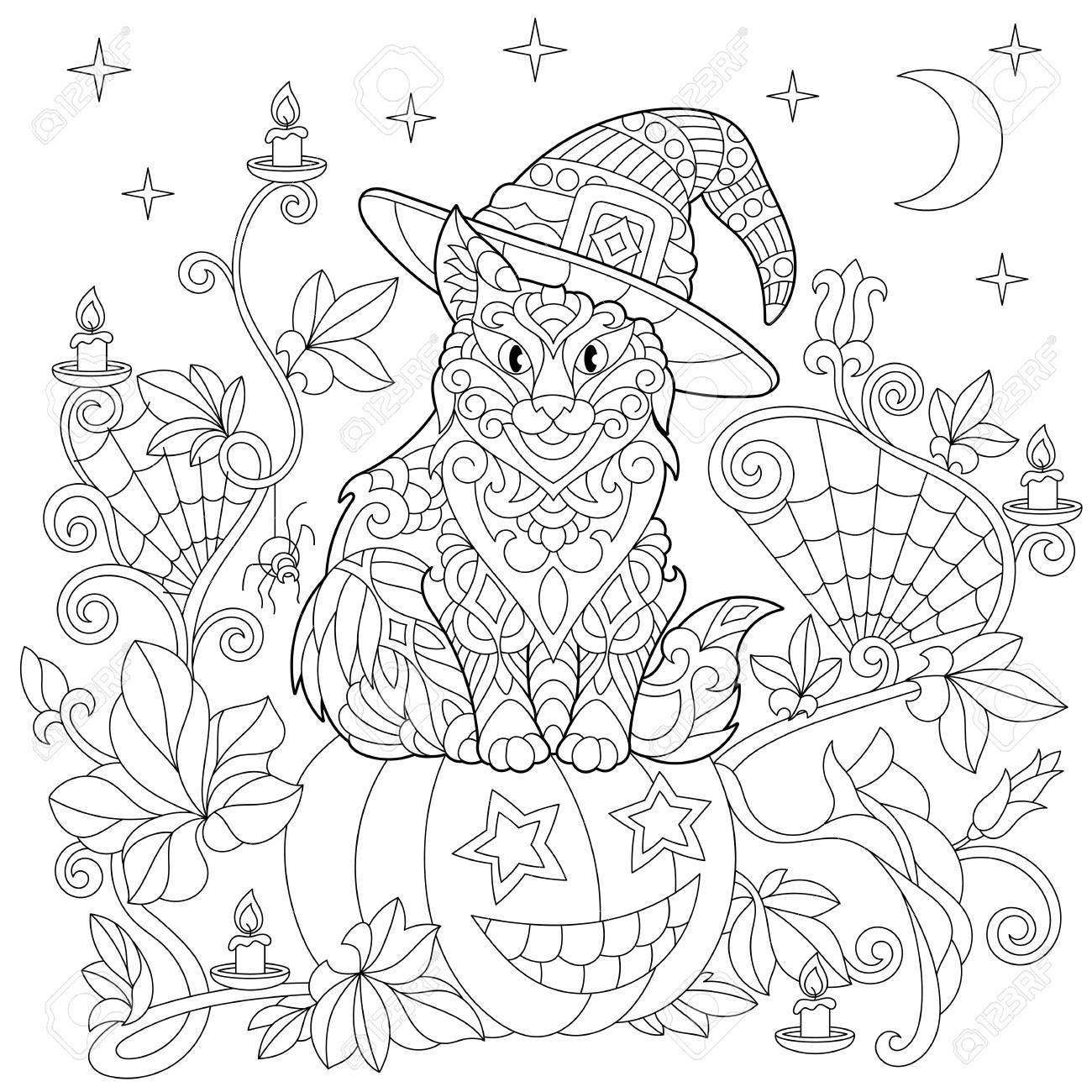 Halloween Ausmalbilder Spinne Genial Halloween Malvorlagen Katze In Einem Hut Halloween Kürbis Bild