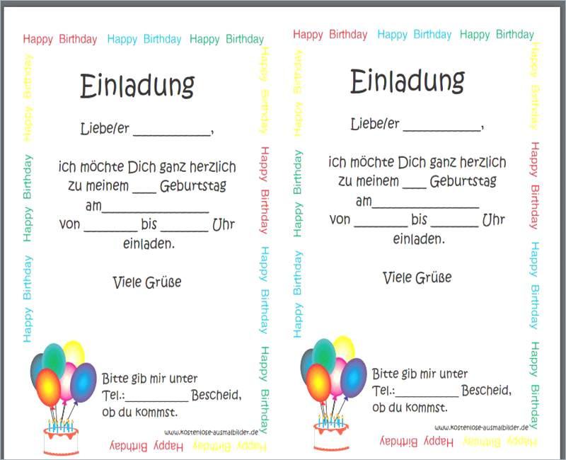 Happy Birthday Zum Ausdrucken Frisch Einladungskarten Zum Ausdrucken Fotos