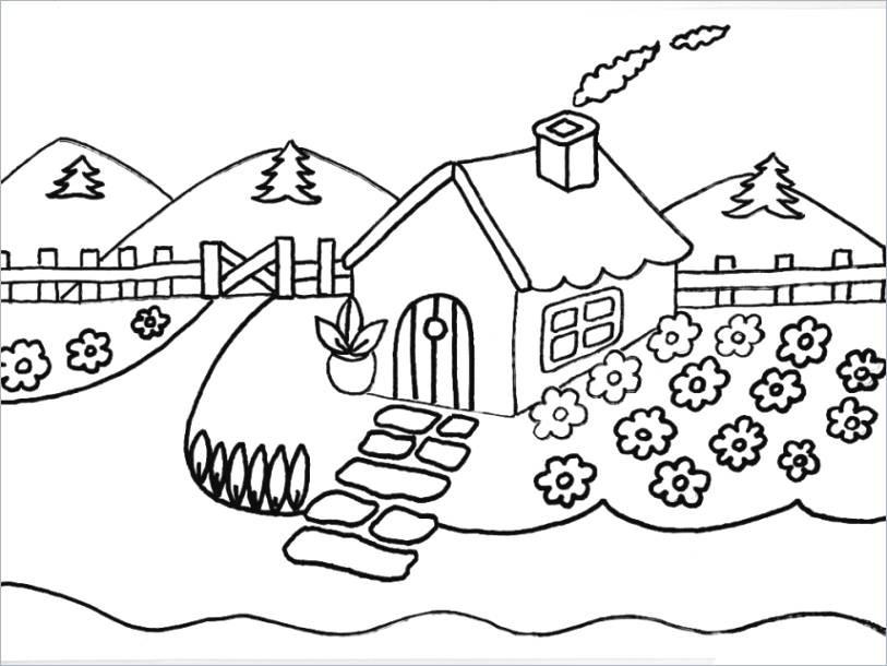Haus Mit Garten Ausmalbild Frisch 80 Haus Mit Garten Ausmalbild Bilder