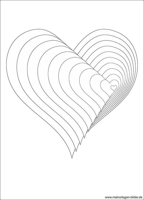 Herz Bilder Zum Ausmalen Neu 3d Malvorlage Mit Herzen Ausmalbild Pinterest Sammlung
