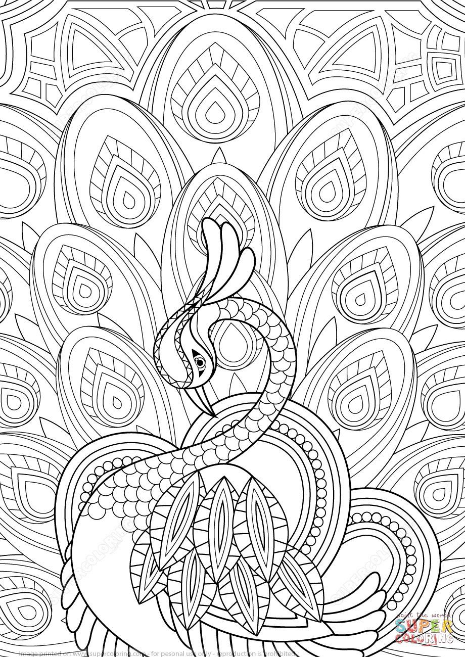 Herzen Zum Ausmalen Inspirierend Zentangle De Pavo Real Con Adornos Super Coloring Schön Herzen Das Bild