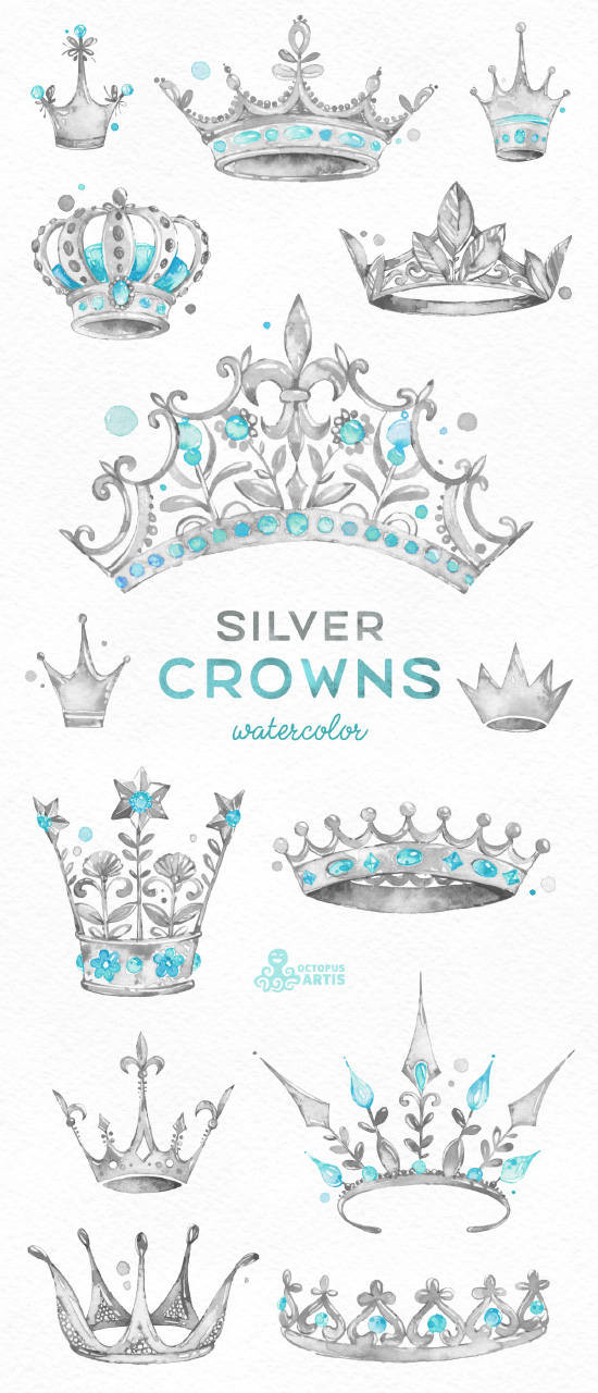 Krone Prinzessin Clipart Inspirierend Silver Crowns 14 Watercolor Handpainted Clipart Royal Diadem Stock