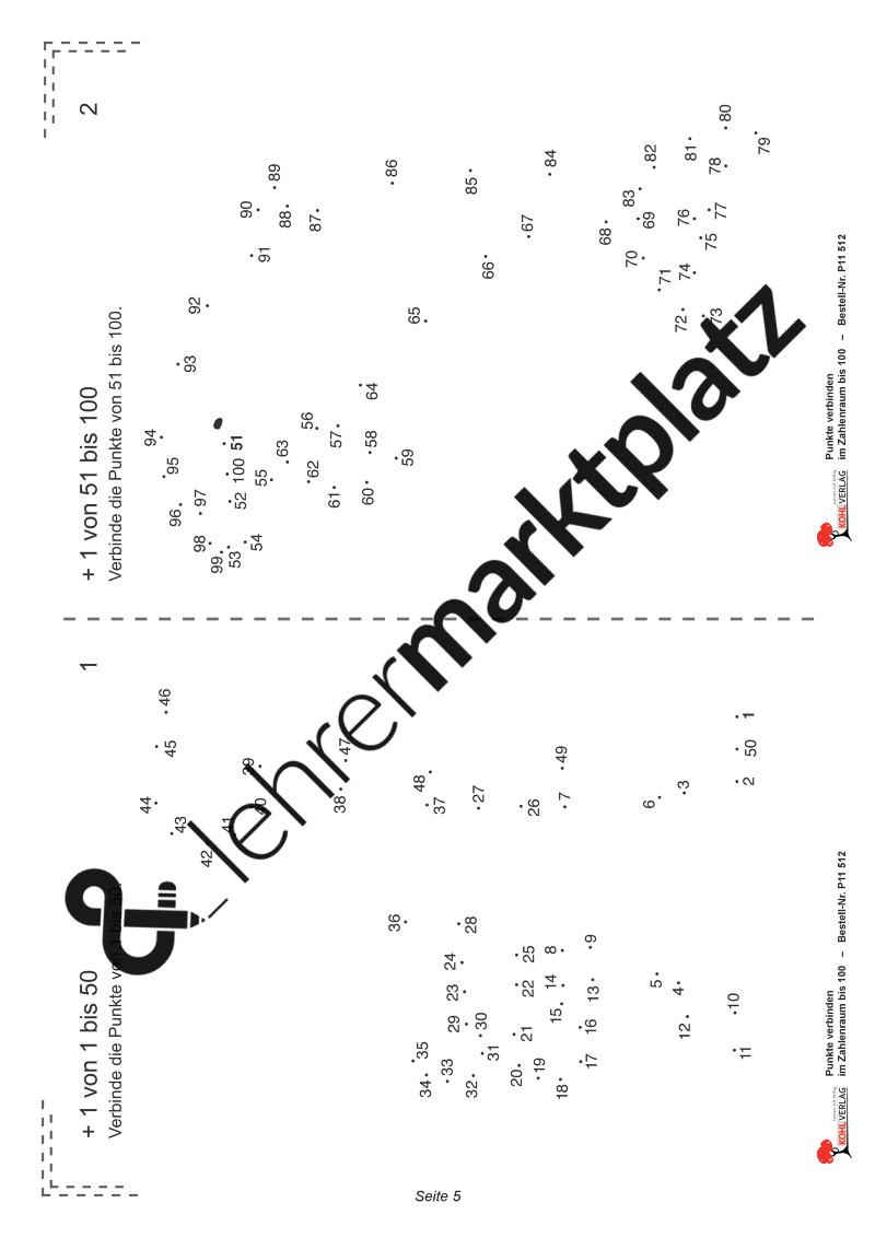 Malen Nach Zahlen Kostenlos Punkte Verbinden Genial Punkte Verbinden Im Zahlenraum Bis 100 – Basiskompetenzen Stock
