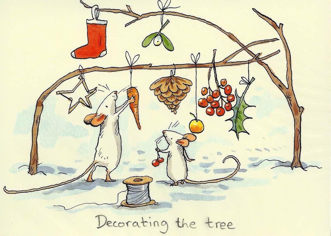 Pettersson Und Findus Ausmalbild Inspirierend Karte Mit Zwei Mäusen Einen ast Weihnachtlich Schmücken Und Dem Galerie