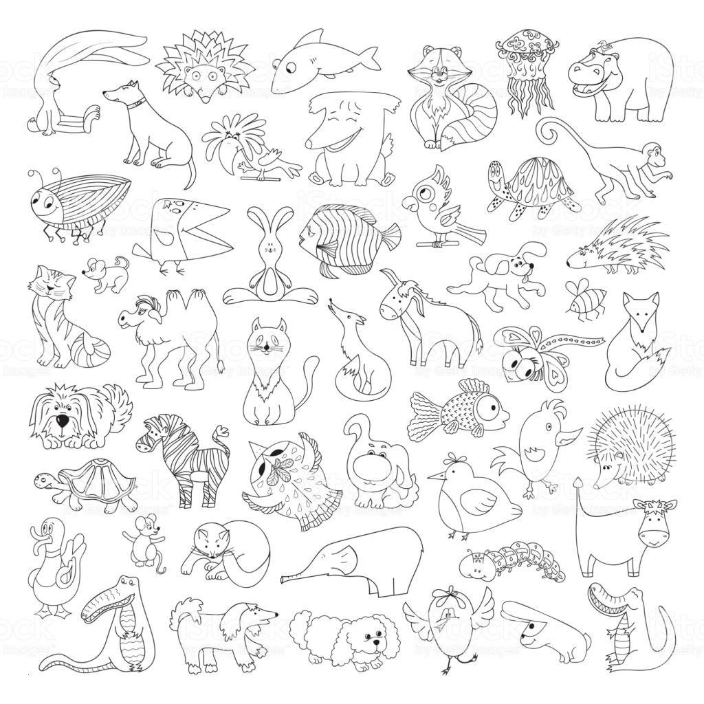 Pippi Langstrumpf Ausmalbilder Frisch Großen Vektorset Lustige Wilde Tiere Und Haustiere Malvorlagen Für Stock