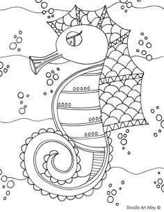 Seepferdchen Zum Ausmalen Frisch Ocean Animal Coloring Pages Doodle Art Alley Coloring Galerie