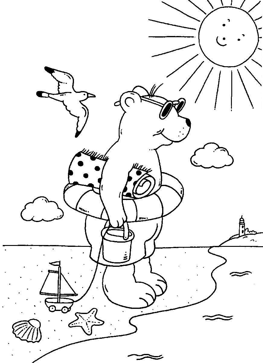 Sommer Bilder Zum Ausmalen Das Beste Von Ausmalbild sommer Bär Am Strand Kostenlos Ausdrucken Einzigartig Bilder