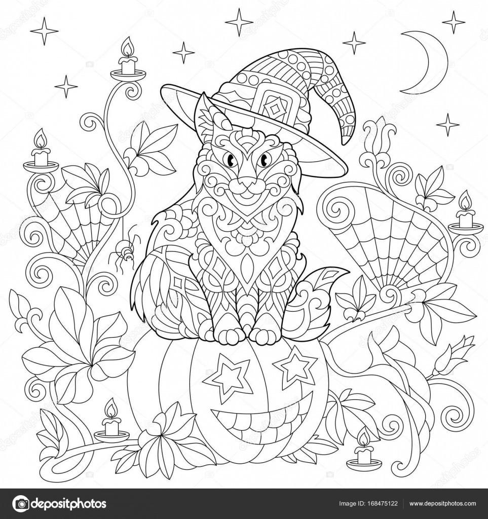 Spinnennetz Mit Spinne Malvorlage Einzigartig Zentangle Stilisiert Halloween Malvorlagen — Stockvektor © Sybirko Stock