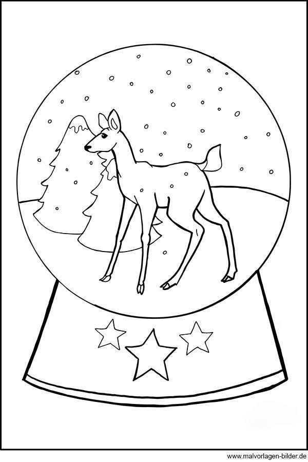 Window Color Vorlagen Weihnachten Rentier Neu Gratis Ausmalbild Mit Einer Schneekugel Und Einem Kleinen Reh Fotos