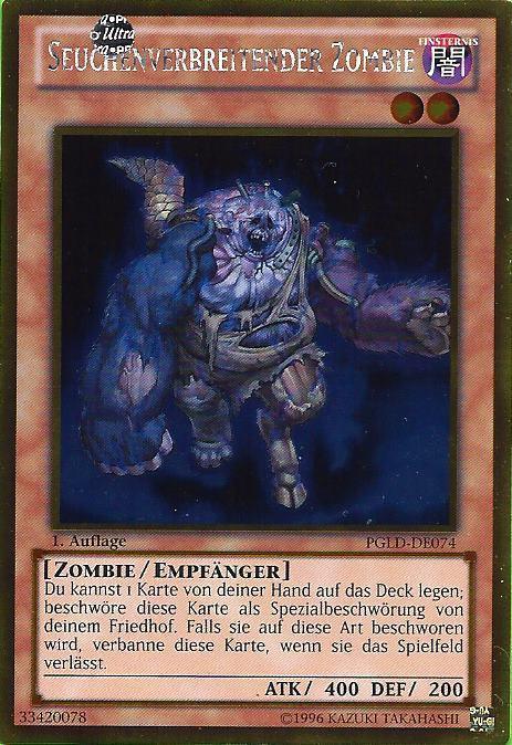 Yugioh Karten Drachen Das Beste Von Pgld De074 Seuchenverbreitender Zombie Gold Rare Bild