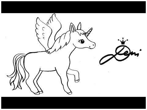 Ausmalbilder Einhorn Pummel Einzigartig Springendes Pegasus Einhorn Zeichnen Lernen How to Draw A Jumping Stock