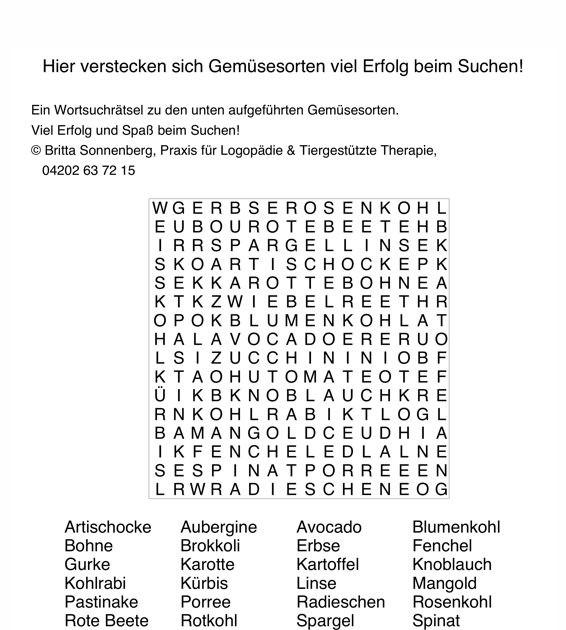 Wortsuchrätsel Zum Ausdrucken Das Beste Von Buchstabensalat Gemüse Aphasie Madoo Bilder
