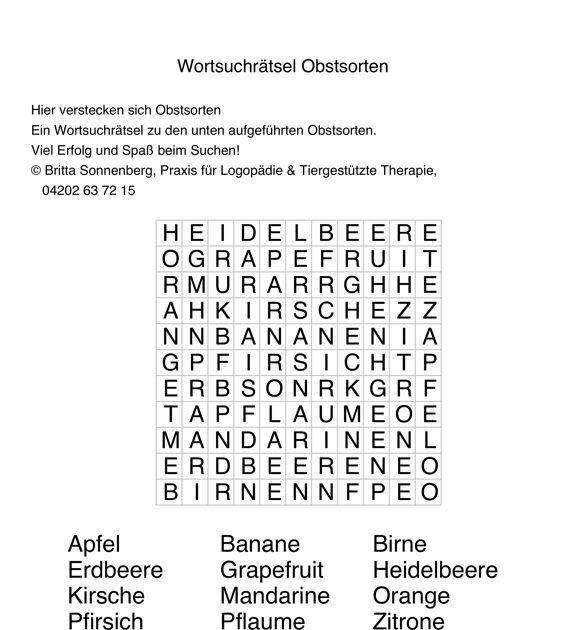 Wortsuchrätsel Zum Ausdrucken Frisch Buchstabensalat Obst Aphasie Bilder