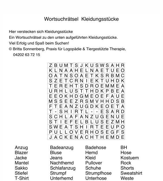 Wortsuchrätsel Zum Ausdrucken Genial Buchstabensalat Kleidung Aphasie Madoo Fotografieren