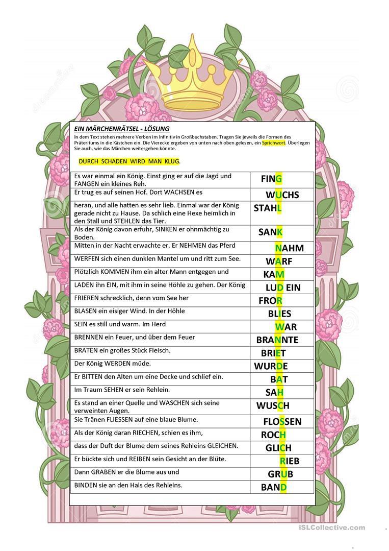 Wortsuchrätsel Zum Ausdrucken Inspirierend Ein Märchenrätsel Arbeitsblatt Kostenlose Daf Arbeitsblätter Stock