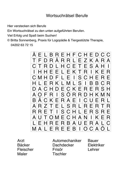 Wortsuchrätsel Zum Ausdrucken Neu Buchstabensalat Berufe Sprache Madoo Stock