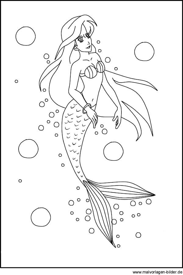 Ausmalbilder Meerjungfrau Frisch Malvorlagen Gratis