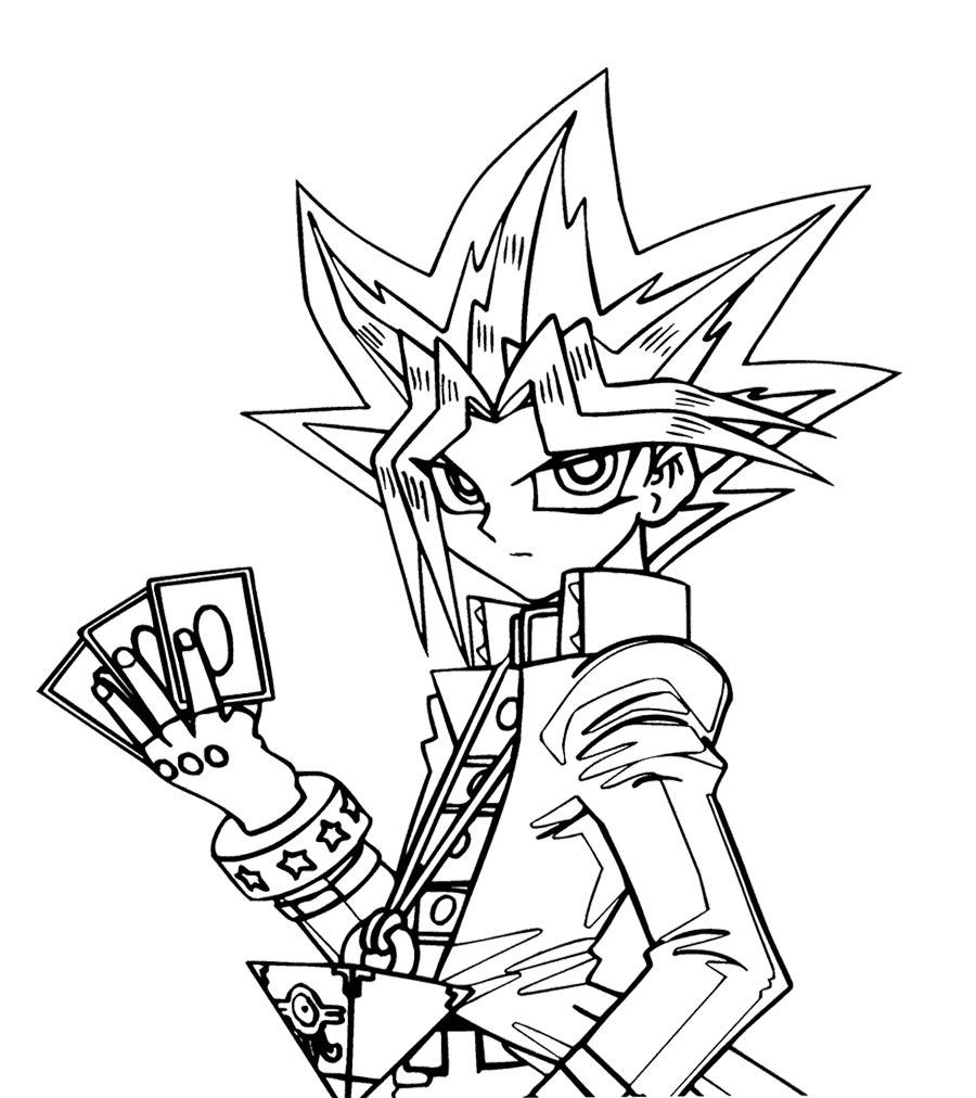 Ausmalbilder Yugioh Inspirierend Yu Gi Oh Will Put Three Cards Coloring Page for Kids Stock