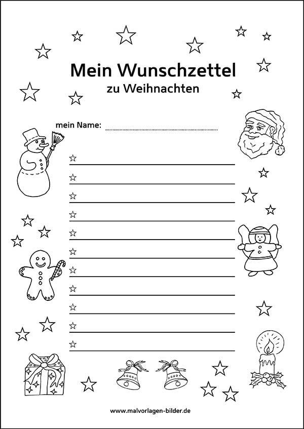 Ausmalbilder Weihnachten Kinder Kostenlos Neu Malvorlage Wunschzettel Für Weihnachten Bilder