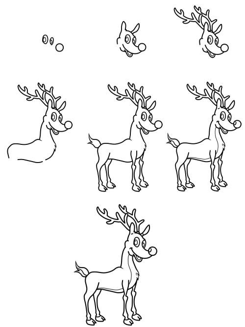 Ausmalbilder Weihnachten Rudolph Genial Rentier Zeichnen Lernen Izzyte Fotos