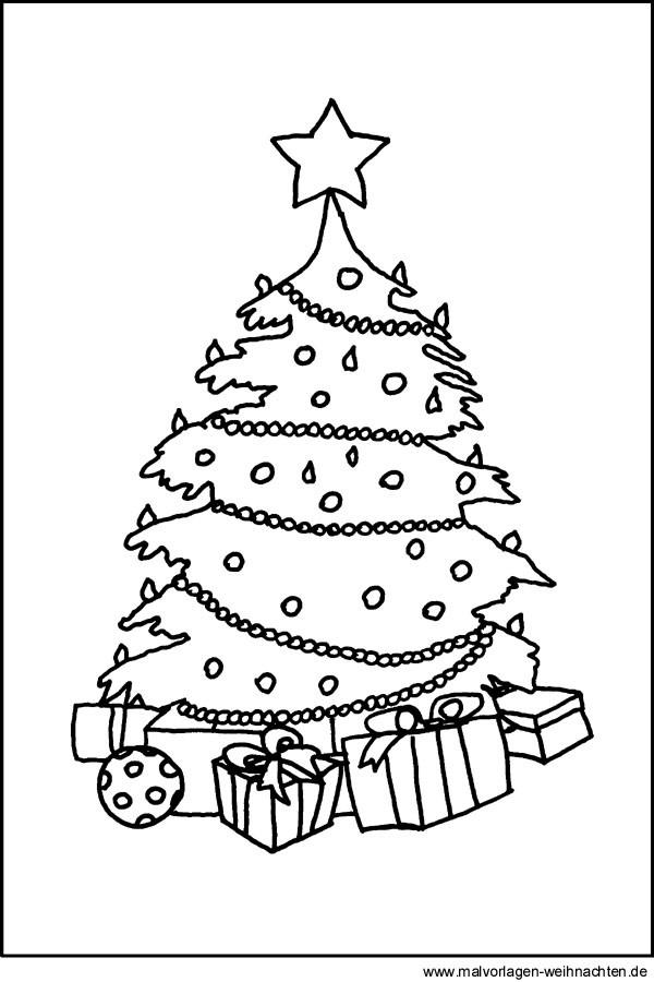 Ausmalbilder Weihnachten Tannenbaum Mit Geschenken Das Beste Von Christbaum Malvorlage Stock