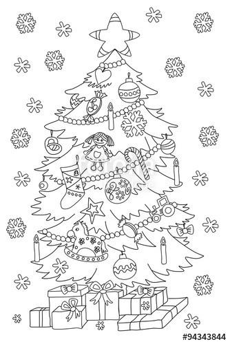 Ausmalbilder Weihnachten Tannenbaum Mit Geschenken Neu Christbaum Malvorlage Stock