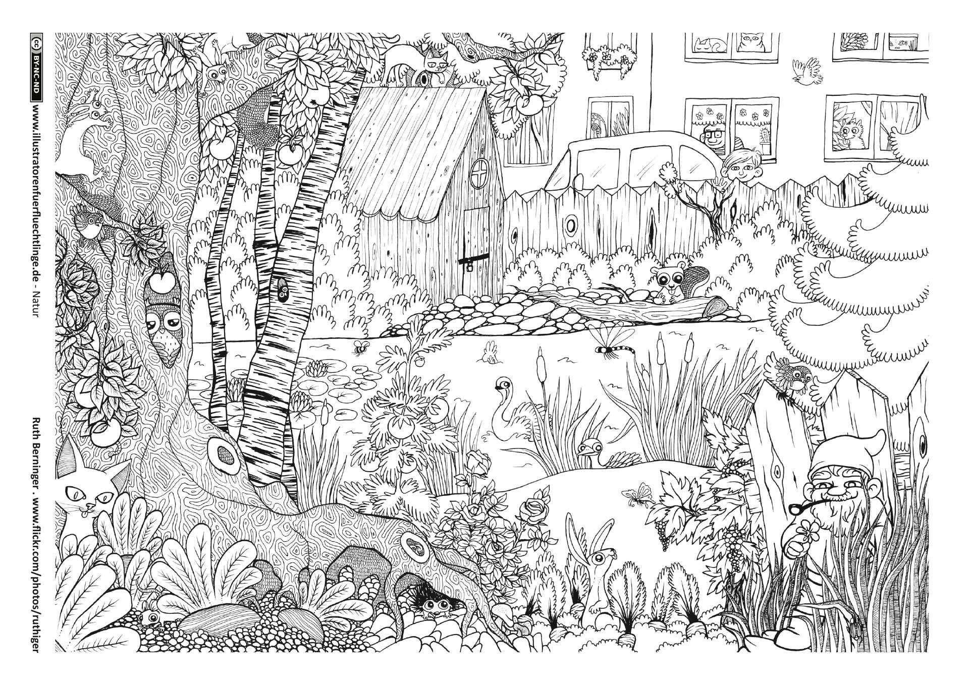 Garten Tiere Wimmelbild … Ausmalbilder