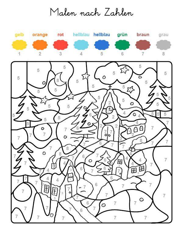 50 frisch malen nach zahlen ausmalbilder weihnachten